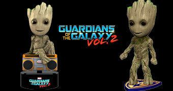 Groot Bobble Head Clássico e Bobble Head Solar (Guardiões da Galáxia Vol. 2)