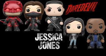 Bonecos Pop! Séries Marvel Netflix: Daredevil, Elektra, Punisher, Luke Cage e Jessica Jones
