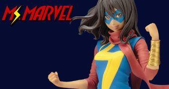 Estátua Ms. Marvel (Kamala Khan) Estilo Bishoujo – Ilustração de Shunya Yamashita