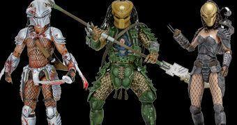 "Action Figures Predator 7"" Série 18 Dark Horse Comics: Machiko, Broken Tusk e Hornhead"