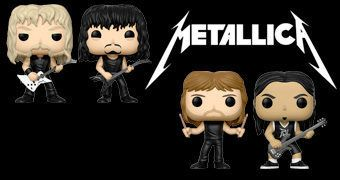 Bonecos Pop! Metallica: James Hetfield, Lars Ulrich, Kirk Hammett e Robert Trujillo