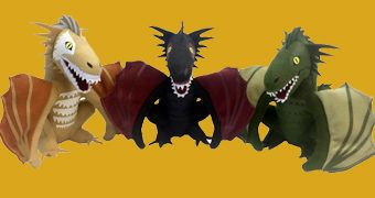 Dragões de Pelúcia Game of Thrones: Drogon, Rhaegal e Viserion