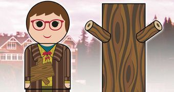 Twin Peaks Pin Mate Log Lady (Mulher do Tronco) – Mini-Boneca Retro de Madeira