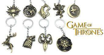 Chaveiros de Metal Game of Thrones: 9 Brasões Casas Nobres de Westeros