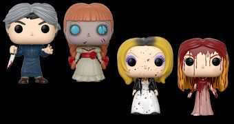 Bonecos Pop! Horror: Norman Bates (Psicose), Carrie, Noiva do Chucky e Annabelle