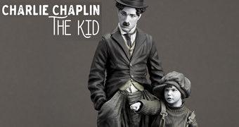 Charlie Chaplin O Garoto – Estátua Infinite Statue em Preto e Branco