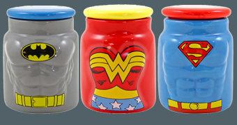 Potes de Cerâmica Mulher-Maravilha, Batman e Superman