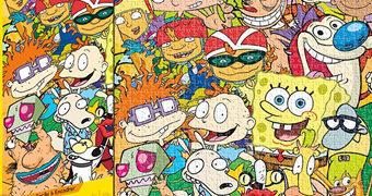 Quebra-Cabeça Nickelodeon Cast Desenhos Animados dos Anos 90!