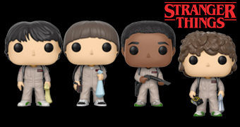 Bonecos Stranger Things Pop! Wave 3: Will, Dustin, Lucas e Mike de Ghostbusters, Eleven, Joyce e Max