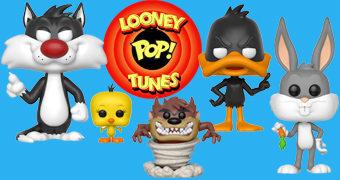 Bonecos Pop! Looney Tunes com Pernalonga, Patolino, Hortelino, Taz, Frajola e Piu-piu