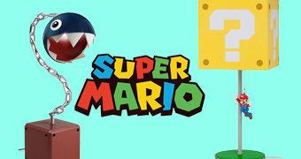 Luminárias Super Mario: Chain Chomp e Bloco de Interrogação