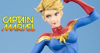 Estátua Capitã Marvel (Carol Danvers) Estilo Bishoujo – Ilustração de Shunya Yamashita