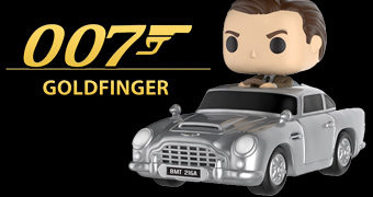 Boneco Pop! Rides James Bond com Aston Martin (007 Contra Goldfinger)
