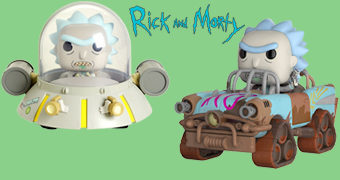Bonecos Rick and Morty Pop! Rides: Disco Voador e Mad Max Rick