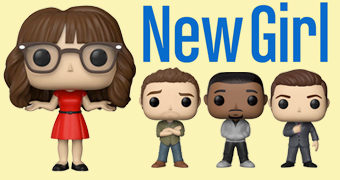 New Girl Pop! com Jess (Zooey Deschanel), Nick, Winston e Schmidt