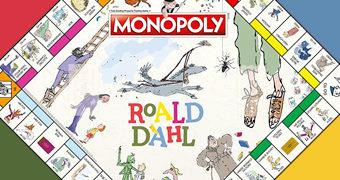Jogo Monopoly Roald Dahl: Charlie a Fábrica de Chocolates, James e o Pêssego Gigante, Fantástico Sr. Raposo, Matilda e As Bruxas