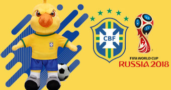 """Mascote Canarinho """"Pistola"""" de Pelúcia (Copa do Mundo Rússia 2018)"""