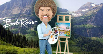 Boneco Bobble Head do Pintor Bob Ross (The Joy of Painting)