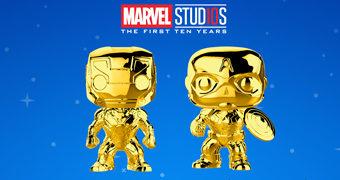 Bonecos Pop! Cromados de Dourado nos 10 Anos do Marvel Studios