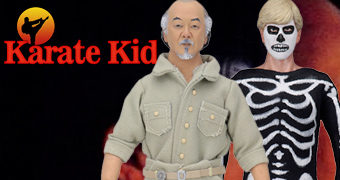 Action Figures Retro Karatê Kid: Sr. Miyagi, Daniel Larusso e Johnny Lawrence