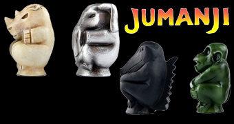 Peças do Jogo Jumanji: Rinoceronte de Marfim, Elefante Metálico, Crocodilo Obsidiano e Macaco de Jade