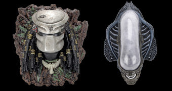 Troféus de Caça Intergaláctica: Cabeça de Predador e Cabeça de Xenomorfo