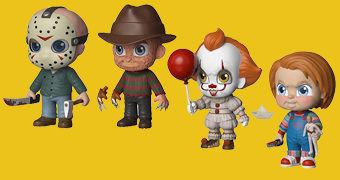Bonecos 5 Star Horror com Pennywise, Chucky, Freddy e Jason
