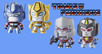 Bonecos Transformers Mighty Muggs: Bumblebee, Optimus Prime, Megatron e Starscream