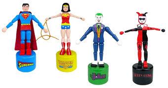 Fantoches Retro Push Puppets Liga da Justiça: Super-Homem, Mulher Maravilha, Coringa e Arlequina