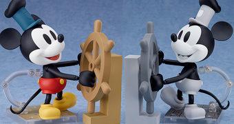 Bonecos Nendoroid Mickey Mouse Steamboat Willie 90 Anos (Preto e Branco ou Colorido)