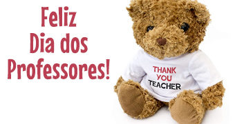 "Feliz Dia dos Professores com o Ursinho de Pelúcia ""Thank You Teacher"""