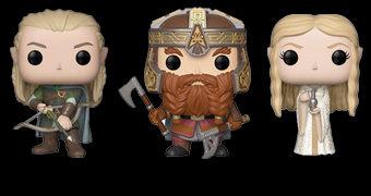 Bonecos Pop! O Senhor dos Anéis: Legolas, Gimli, Boromir, Lady Galadriel, Elrond e Rei Bruxo de Angmar