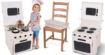 Transforme Qualquer Cadeira numa Cozinha de Brinquedo com a Chair Cover Play Kitchen!