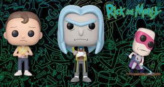 Bonecos Pop! Rick and Morty: Teacher Rick, Slick Morty, Noob Noob, Froopyland Beth, Keara, Unity e Tiny Rick!