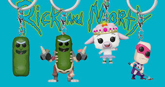 Chaveiros Rick and Morty Pocket Pop! com Pickle Rick, Pickle Rick in Rat Suit, Tinkles e Noob-Noob
