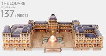 Quebra-Cabeça 3D Museu do Louvre Iluminado com LEDs