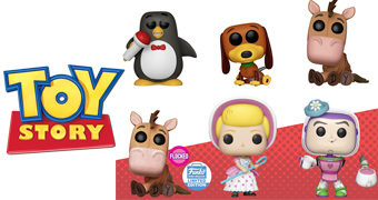 Bonecos Pop! Toy Story: Wheezy, Slinky, Bala no Alvo, Betty e Buzz Dona Marocas