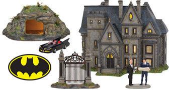 Mansão Wayne e Batcaverna Miniaturas Iluminadas DC Comics Hot Properties
