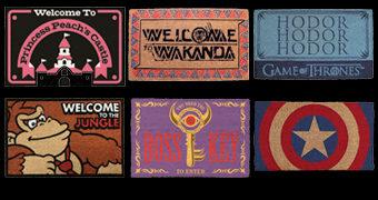 Capachos para Casa dos Nerds: Zelda, Donkey Kong, Mario, Pantera Negra, Capitão América e Game of Thrones