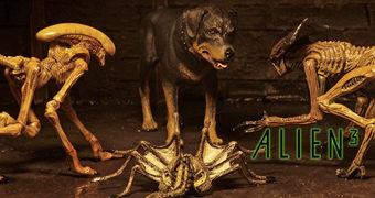 """Alien³ Criaturas – Set de Acessórios Neca 7"""" com Cão Rottweiler, Bambi Burster, Queen Burster e Queen Facehugger"""