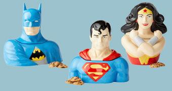 Potes de Cookies DC Comics: Mulher-Maravilha, Superman e Batman
