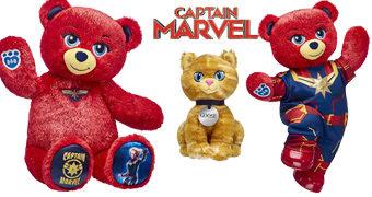 Ursinha de Pelúcia Capitã Marvel Build a Bear e Gato Goose