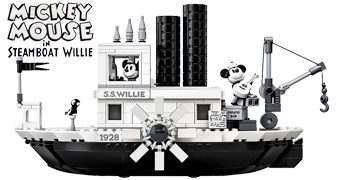 Steamboat Willie LEGO: Barco a Vapor S.S. Willie com Mickey Mouse e Minnie Mouse
