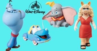 Bonecos Disney UDF Série 8: Gênio (Aladdin), Dumbo, Susie (Cupê Azul), Mickey e Donald Astronautas, Caco e Miss Piggy (Muppets)