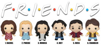 Chaveiros 3D Monogram Friends (Blind-Box) com Rachel, Ross, Monica, Joey, Phoebe e Chandler