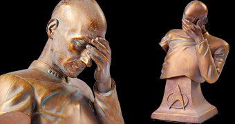 """Busto Capitão Picard """"Facepalm"""" Imitando Bronze (Star Trek A Nova Geração)"""