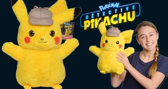 Boneco de Pelúcia Pokémon: Detective Pikachu em Tamanho Real com 40 cm de Altura
