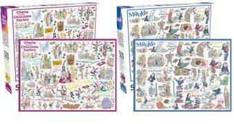 Quebra-Cabeças dos Livros de Roald Dahl: Charlie e a Fábrica de Chocolate, Matilda, James e o Pêssego Gigante e O Bom Gigante Amigo