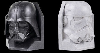 Apoios de Livros Star Wars Bookends Imitando Mármore: Darth Vader e Stormtrooper