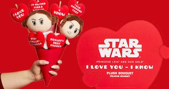 Buquê de Pelúcias Star Wars Han e Leia (I love you, I know) no Dia dos Namorados 2019